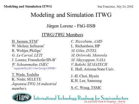 Modeling and Simulation ITWG San Francisco, July 24, 2002 24 July 2002 Work In Progress – Not for Publication Modeling and Simulation ITWG Jürgen Lorenz.