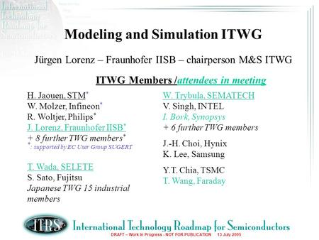 DRAFT – Work In Progress - NOT FOR PUBLICATION 13 July 2005 Modeling and Simulation ITWG Jürgen Lorenz – Fraunhofer IISB – chairperson M&S ITWG ITWG Members.