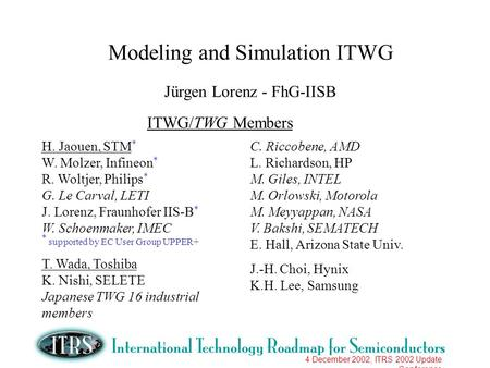 4 December 2002, ITRS 2002 Update Conference Modeling and Simulation ITWG Jürgen Lorenz - FhG-IISB ITWG/TWG Members H. Jaouen, STM * W. Molzer, Infineon.