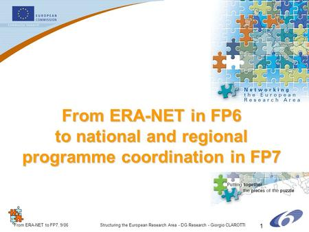 ERA-NETERA-NET From ERA-NET to FP7, 9/06Structuring the European Research Area - DG Research - Giorgio CLAROTTI 1 From ERA-NET in FP6 to national and regional.