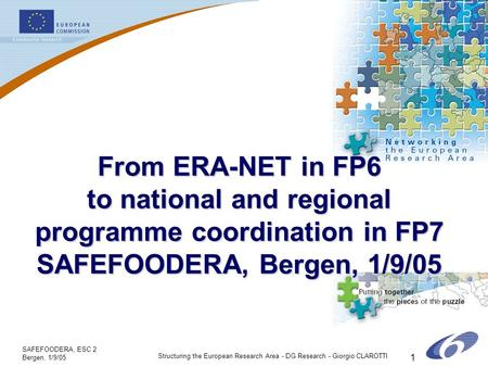 SAFEFOODERA, ESC 2 Bergen, 1/9/05 Structuring the European Research Area - DG Research - Giorgio CLAROTTI 1 From ERA-NET in FP6 to national and regional.