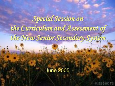 Special Session on the Curriculum and Assessment of the New Senior Secondary System June 2005.