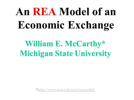 An REA Model of an Economic Exchange
