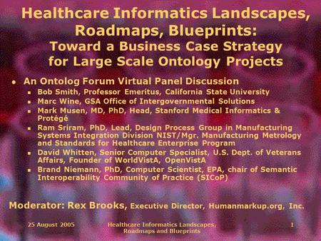 25 August 2005Healthcare Informatics Landscapes, Roadmaps and Blueprints 1 Healthcare Informatics Landscapes, Roadmaps, Blueprints: Toward a Business Case.