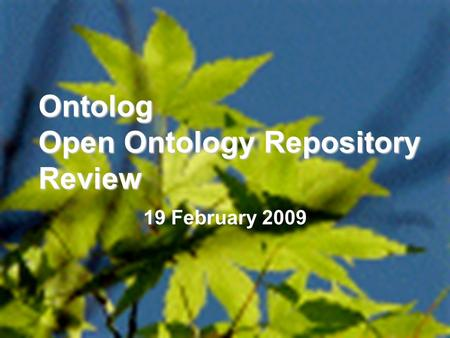 1 Ontolog Open Ontology Repository Review 19 February 2009.