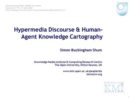 © Simon Buckingham Shum 1 Hypermedia Discourse & Human- Agent Knowledge Cartography Simon Buckingham Shum Knowledge Media Institute & Computing Research.