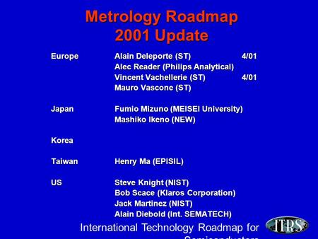 International Technology Roadmap for Semiconductors Metrology Roadmap 2001 Update EuropeAlain Deleporte (ST)4/01 Alec Reader (Philips Analytical) Vincent.