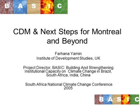 CDM & Next Steps for Montreal and Beyond Farhana Yamin Institute of Development Studies, UK Project Director, BASIC: Building And Strengthening Institutional.