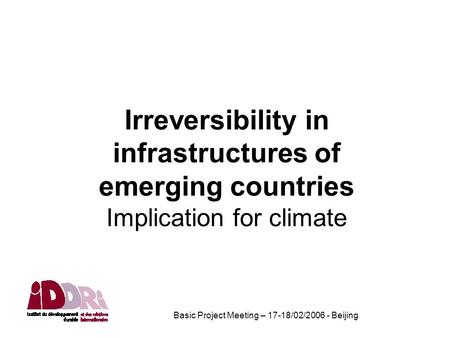Basic Project Meeting – 17-18/02/2006 - Beijing Irreversibility in infrastructures of emerging countries Implication for climate.