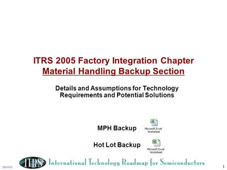 09/04/03 1 ITRS 2005 Factory Integration Chapter Material Handling Backup Section Details and Assumptions for Technology Requirements and Potential Solutions.
