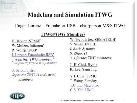 ITRS Winter Conference 2006 The Ambassador Hotel Hsin Chu Taiwan 1 Modeling and Simulation ITWG Jürgen Lorenz – Fraunhofer IISB – chairperson M&S ITWG.