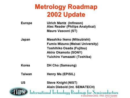 4 December 2002, ITRS 2002 Update Conference Metrology Roadmap 2002 Update EuropeUlrich Mantz (Infineon) Alec Reader (Philips Analytical) Mauro Vasconi.