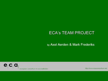 ECAs TEAM PROJECT by Axel Aerden & Mark Frederiks.