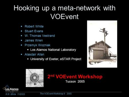 Hooking up a meta-network with VOEvent Robert White Stuart Evans W. Thomas Vestrand James Wren Przemyk Wozniak Los Alamos National Laboratory Alasdair.