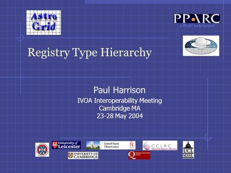 A PPARC funded project Registry Type Hierarchy Paul Harrison IVOA Interoperability Meeting Cambridge MA 23-28 May 2004.