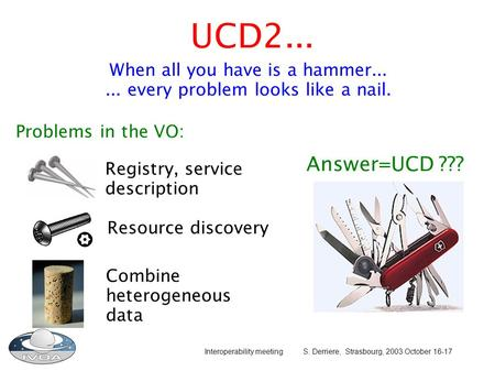 Interoperability meeting S. Derriere, Strasbourg, 2003 October 16-17 UCD2... When all you have is a hammer...... every problem looks like a nail. Registry,