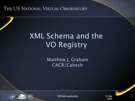 14 Apr 2005 VOEvent workshop1 XML Schema and the VO Registry Matthew J. Graham CACR/Caltech T HE US N ATIONAL V IRTUAL O BSERVATORY.