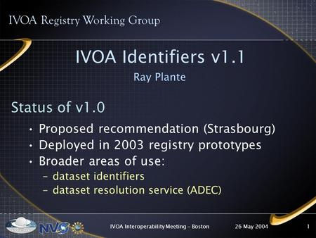 26 May 2004IVOA Interoperability Meeting - Boston1 IVOA Identifiers v1.1 Ray Plante IVOA Registry Working Group Status of v1.0 Proposed recommendation.