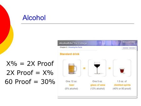 Alcohol X% = 2X Proof 2X Proof = X% 60 Proof = 30%