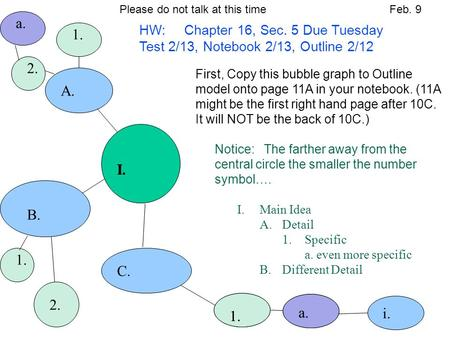 I. B. a. 2. A. 1. 2. C. 1. a. i. First, Copy this bubble graph to Outline model onto page 11A in your notebook. (11A might be the first right hand page.