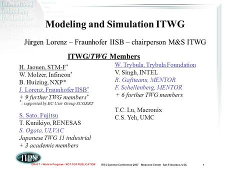 ITRS Summer Conference 2007 Moscone Center San Francisco, USA 1 DRAFT – Work In Progress - NOT FOR PUBLICATION Modeling and Simulation ITWG Jürgen Lorenz.