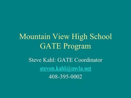 Mountain View High School GATE Program