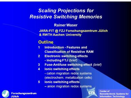 Scaling Projections for Resistive Switching Memories