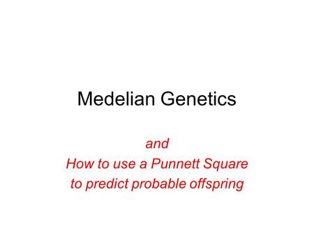 Medelian Genetics and How to use a Punnett Square to predict probable offspring.