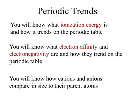 Periodic Trends You will know what ionization energy is and how it trends on the periodic table You will know what electron affinity and electronegativity.