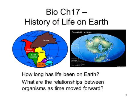 Bio Ch17 – History of Life on Earth How long has life been on Earth? What are the relationships between organisms as time moved forward? 1.