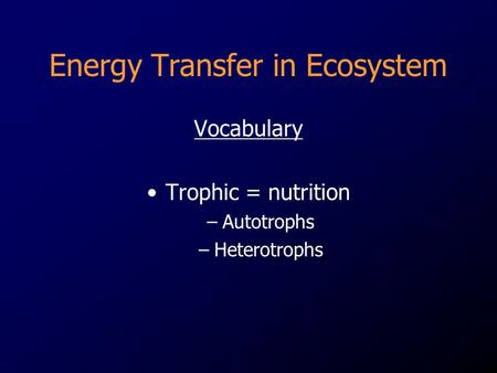 Energy Transfer in Ecosystem