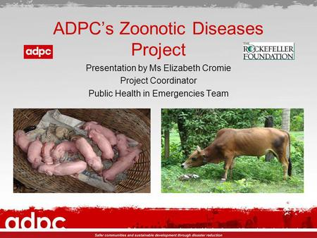 ADPCs Zoonotic Diseases Project Presentation by Ms Elizabeth Cromie Project Coordinator Public Health in Emergencies Team.