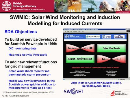 2 nd European Space Weather Week, November 2005 © NERC All rights reserved SWIMIC: Solar Wind Monitoring and Induction Modelling for Induced Currents SDA.