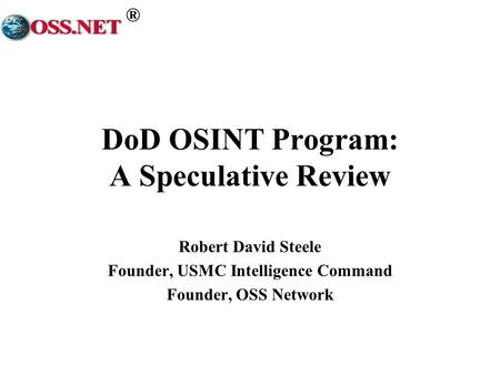 DoD OSINT Program: A Speculative Review