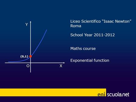 Liceo Scientifico Isaac Newton Roma School Year 2011-2012 Maths course Exponential function X Y O (0,1)