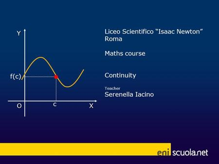 Liceo Scientifico Isaac Newton Roma Maths course Continuity Teacher Serenella Iacino X Y O c 1 f(c)