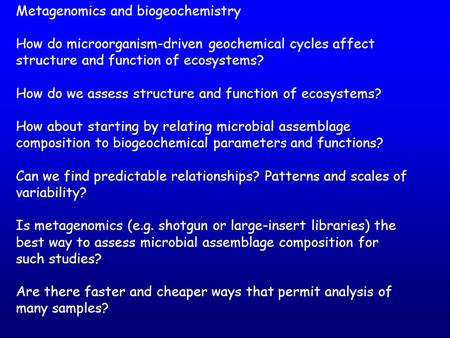 Metagenomics and biogeochemistry