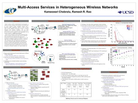 Multi-Access Services in Heterogeneous Wireless Networks Kameswari Chebrolu, Ramesh R. Rao Abstract Today's wireless world is characterized by heterogeneity.