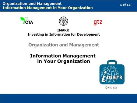 1 of 13 Organization and Management Information Management in Your Organization IMARK Investing in Information for Development Organization and Management.
