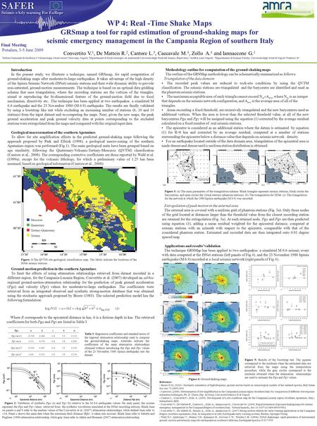 WP 4: Real -Time Shake Maps GRSmap a tool for rapid estimation of ground-shaking maps for seismic emergency management in the Campania Region of southern.