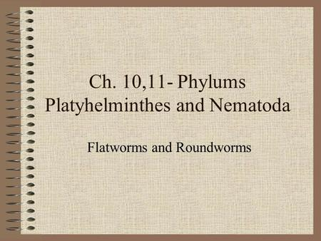 Ch. 10,11- Phylums Platyhelminthes and Nematoda Flatworms and Roundworms.