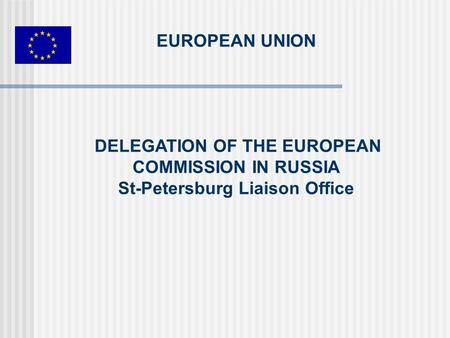 EUROPEAN UNION DELEGATION OF THE EUROPEAN COMMISSION IN RUSSIA St-Petersburg Liaison Office.