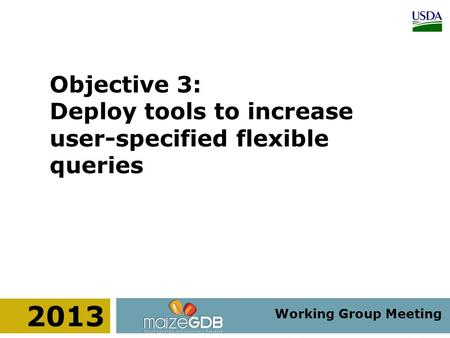 Working Group Meeting 2013 Objective 3: Deploy tools to increase user-specified flexible queries.