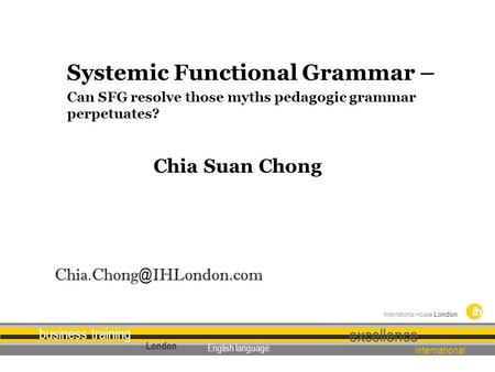 Systemic Functional Grammar –