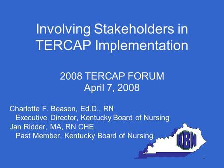 Involving Stakeholders in TERCAP Implementation