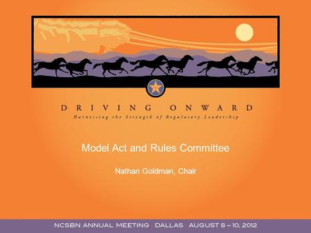 Model Act and Rules Committee Nathan Goldman, Chair.