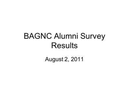 BAGNC Alumni Survey Results August 2, 2011. Raffle Winners Karen Rose Kim Bergen-Jackson Barb King.