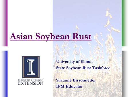 Asian Soybean Rust University of Illinois State Soybean Rust Taskforce Suzanne Bissonnette, IPM Educator.
