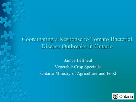 Coordinating a Response to Tomato Bacterial Disease Outbreaks in Ontario Janice LeBoeuf Vegetable Crop Specialist Ontario Ministry of Agriculture and Food.