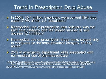 Trend in Prescription Drug Abuse In 2004, 19.1 million Americans were current illicit drug users (7.9% of the U.S. population) 1 In 2004, 19.1 million.